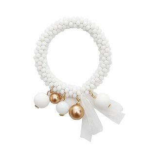 Festive Ribbon and Balls Beaded Bracelet - White